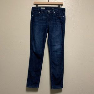 AG The Stilt Cigarette leg dark wash skinny jeans